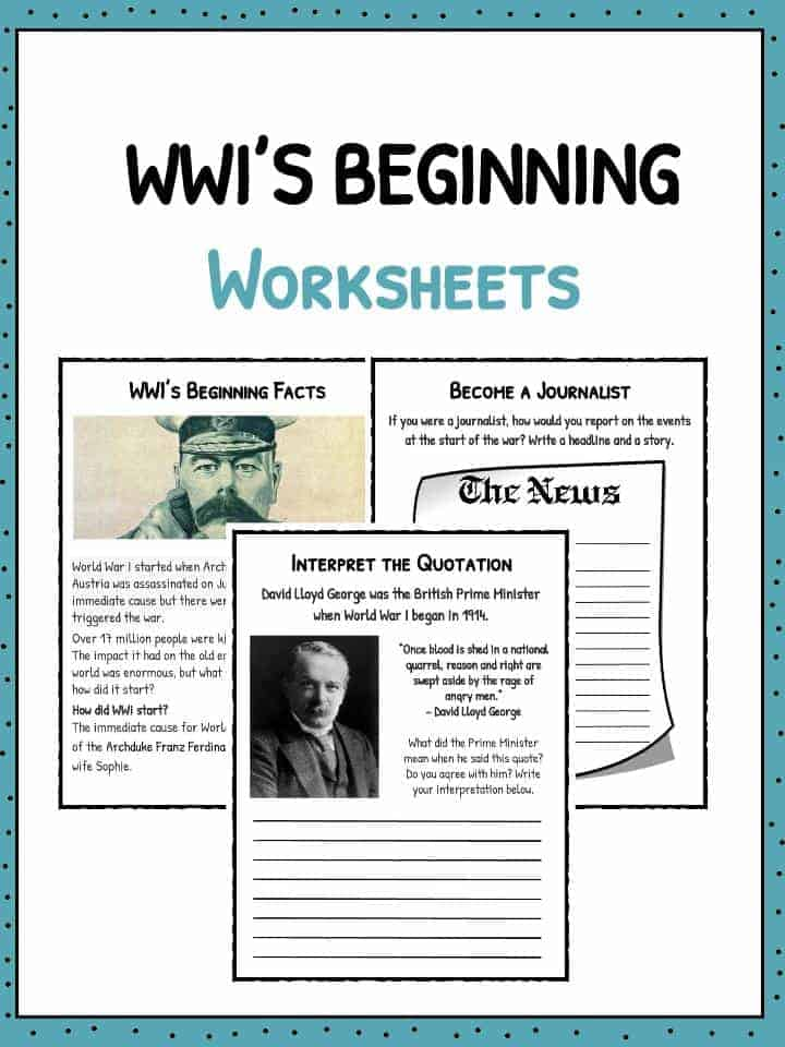 How Did WW1 Start Worksheets Facts Information – World War 1 Worksheets