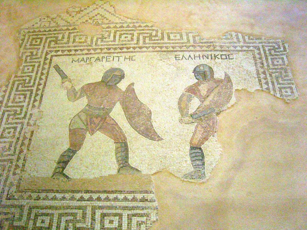 Roman Gladiator mosaic taken at the Kourion Theatre in Cyprus Flickr: kpc1975