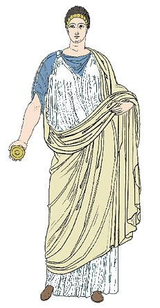 Drawing of a stola - a full length tunic worn by Roman women.