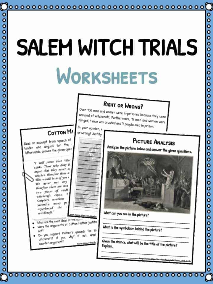 Salem Witch Trials Facts Worksheets Information For Kids – Salem Witch Trials Worksheet