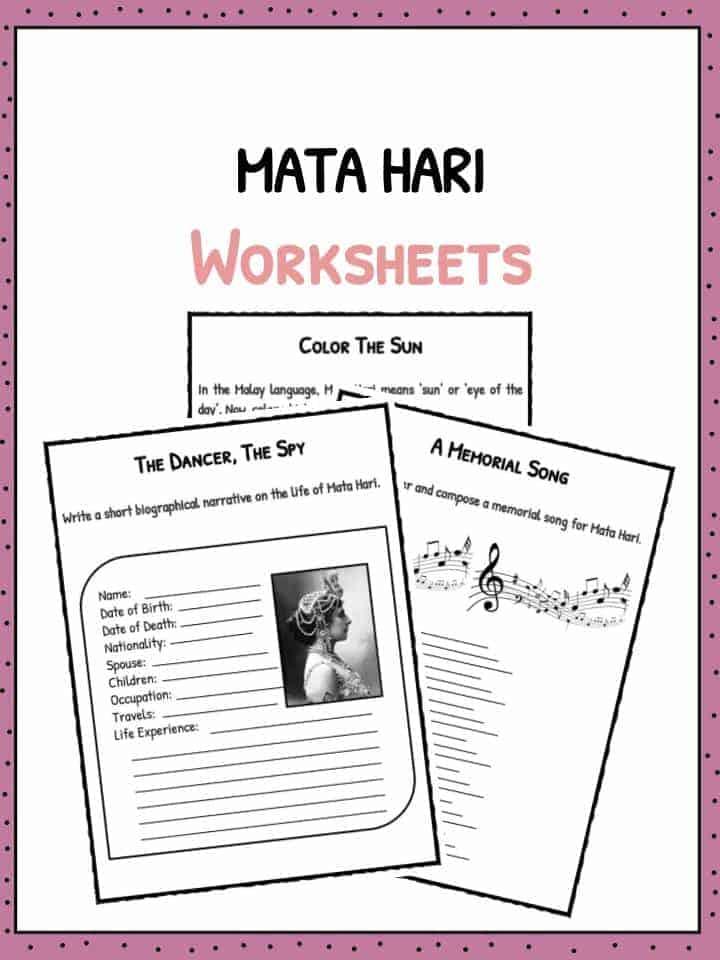Mata Hari Facts Biography Worksheets For Kids – Biography Worksheets