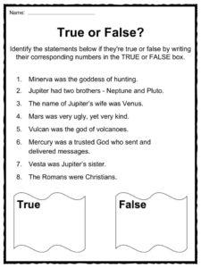 Roman Gods Facts, Worksheets & Information For Kids
