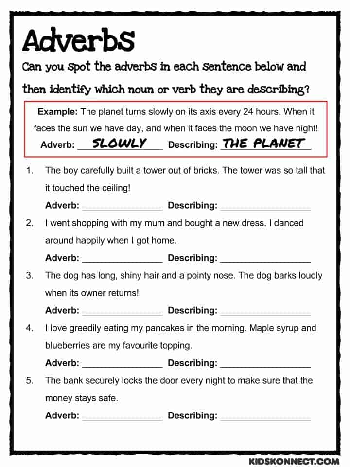 Adverb worksheets for 10th grade