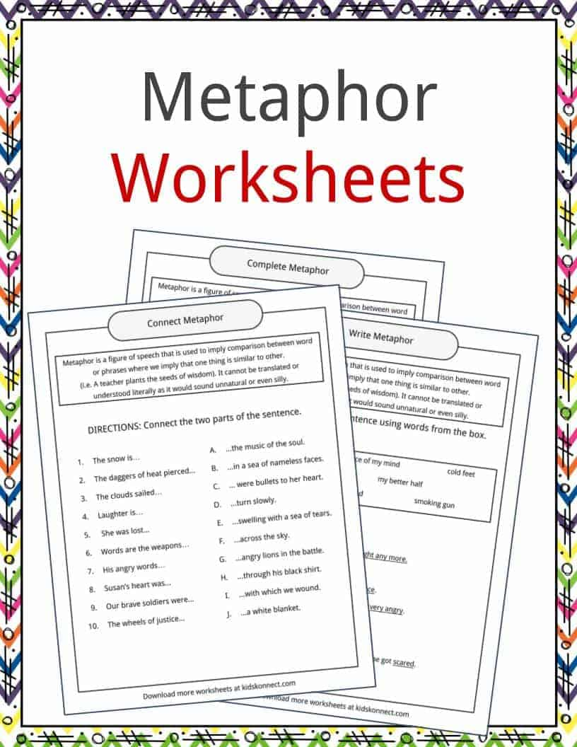 Creating Similes Worksheet | Simile worksheet, Simile ... |Metaphor Examples For Kids Worksheets
