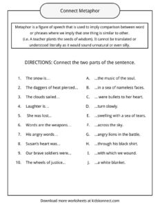 Metaphor Examples, Definition And Worksheets What Is A Metaphor? Simile And Metaphor Worksheets Printable Metaphor Worksheets For Kids #10