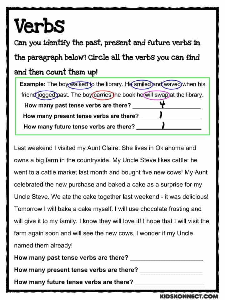 Past Present Future Verbs Worksheet For Kids – Verbs Worksheet for Kindergarten