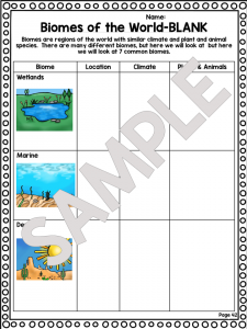 biomes ecosystem worksheet unit plan for teachers. Black Bedroom Furniture Sets. Home Design Ideas