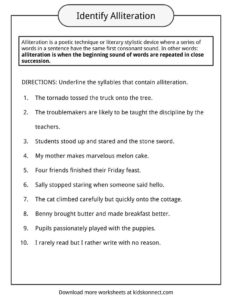 Alliteration Examples Definition  Worksheets  KidsKonnect