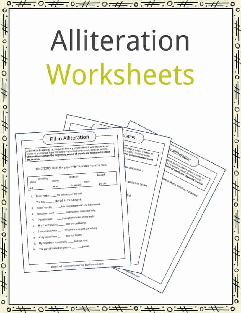 Workbooks using illustrations to understand text worksheets : Alliteration Examples, Definition & Worksheets | KidsKonnect