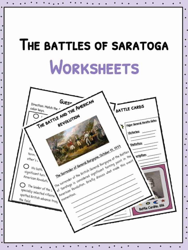 Battles of Saratoga Worksheets