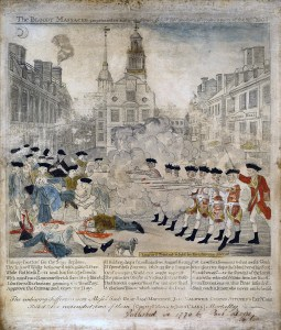 The Bloody Massacre in King Street, copper engraving by Paul Revere