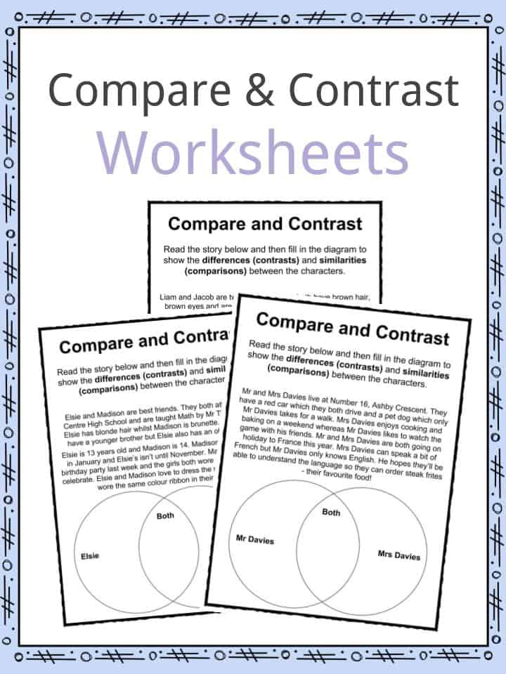 Compare and Contrast Worksheets - Lesson Plan PDF's