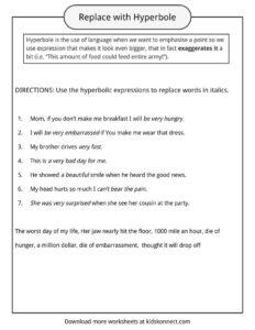 Hyperbole Examples, Definition & Worksheets   KidsKonnect
