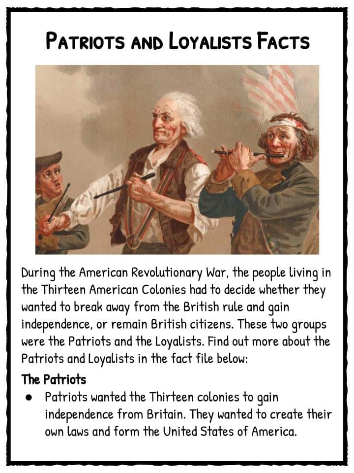 loyalists essay Loyalists during the american revolution americans today think of the war for independence as a revolution, but in important respects it was also a civil war.