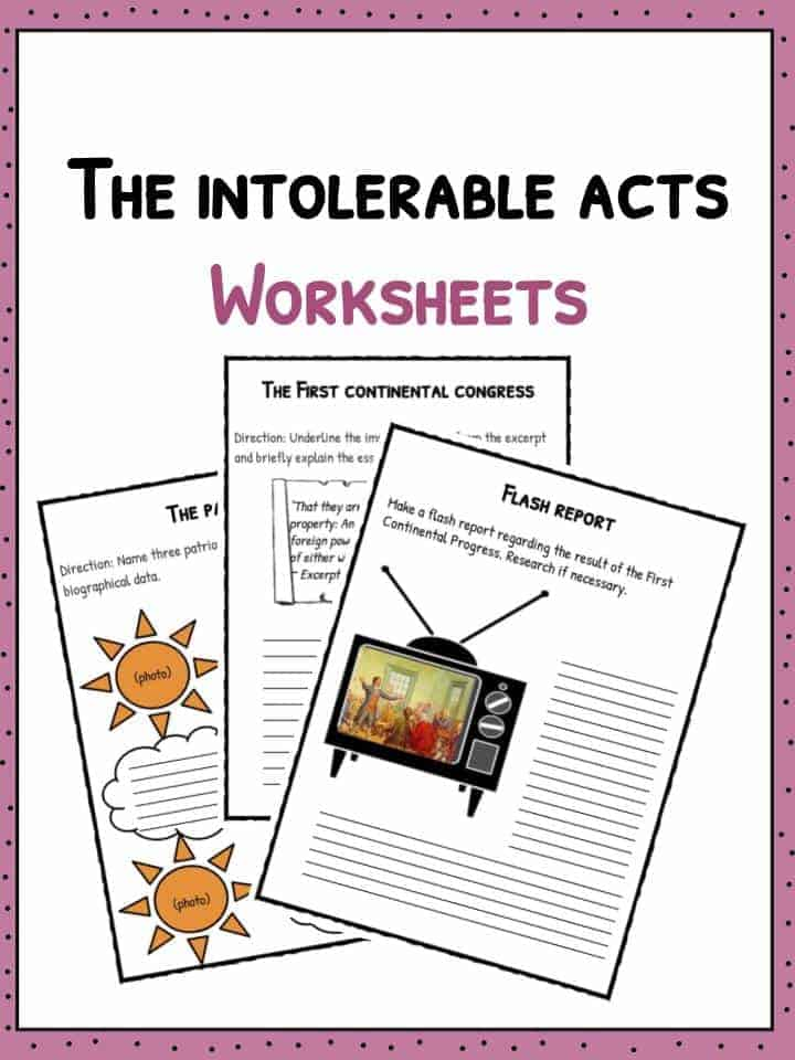Social Security Facts Vs Unbearable >> The Intolerable Acts Worksheets Facts Definition For Kids