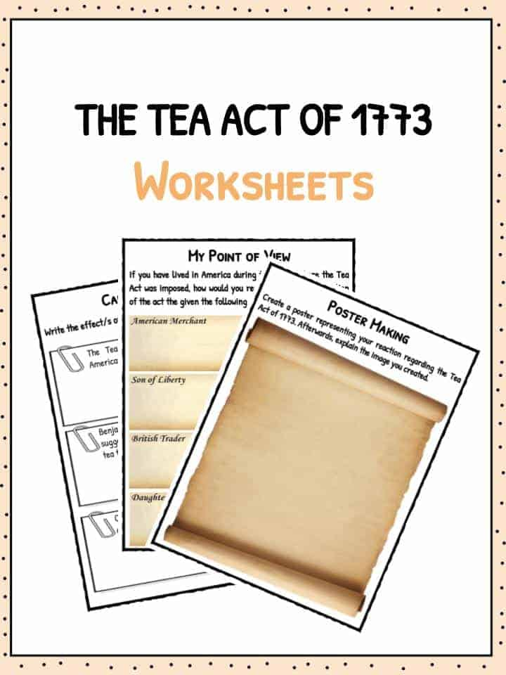 The Tea Act of 1773 – Boston Tea Party Worksheets