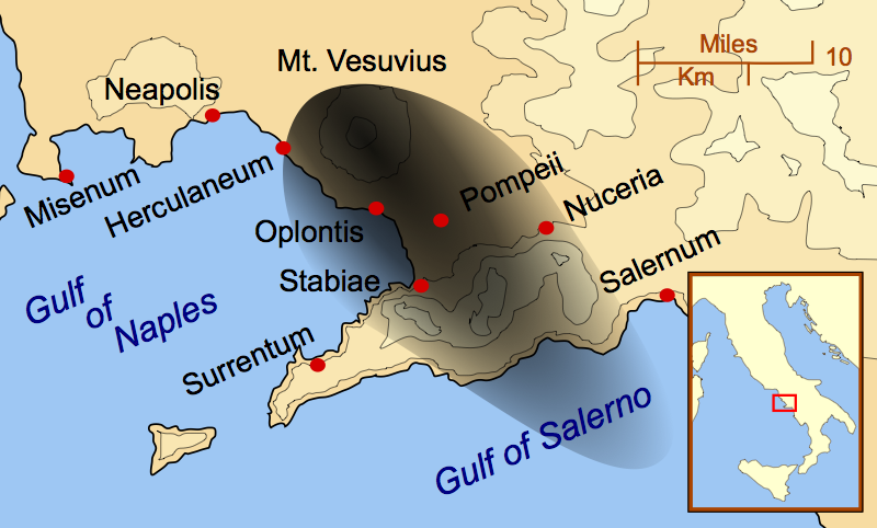 Map of the Vesuvius eruption. The black mark represents ash to show how much of Pompeii was covered. (source: MapMaster)