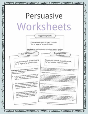 Persuasive Speech Worksheets