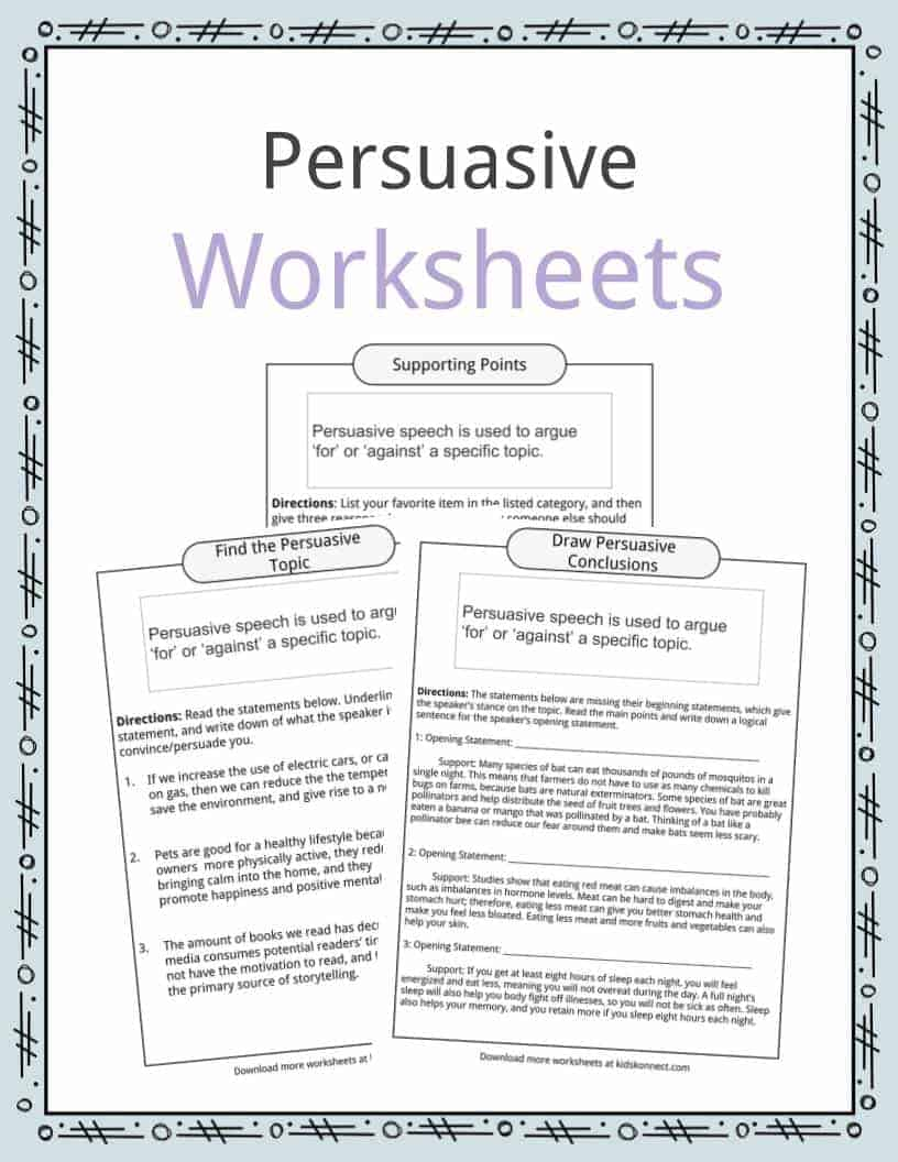 persuasive writing worksheet Persuade me, please reading a persuasive essay and  students will use the persuasive essay student resource as a guide to begin the writing process of persuasive.