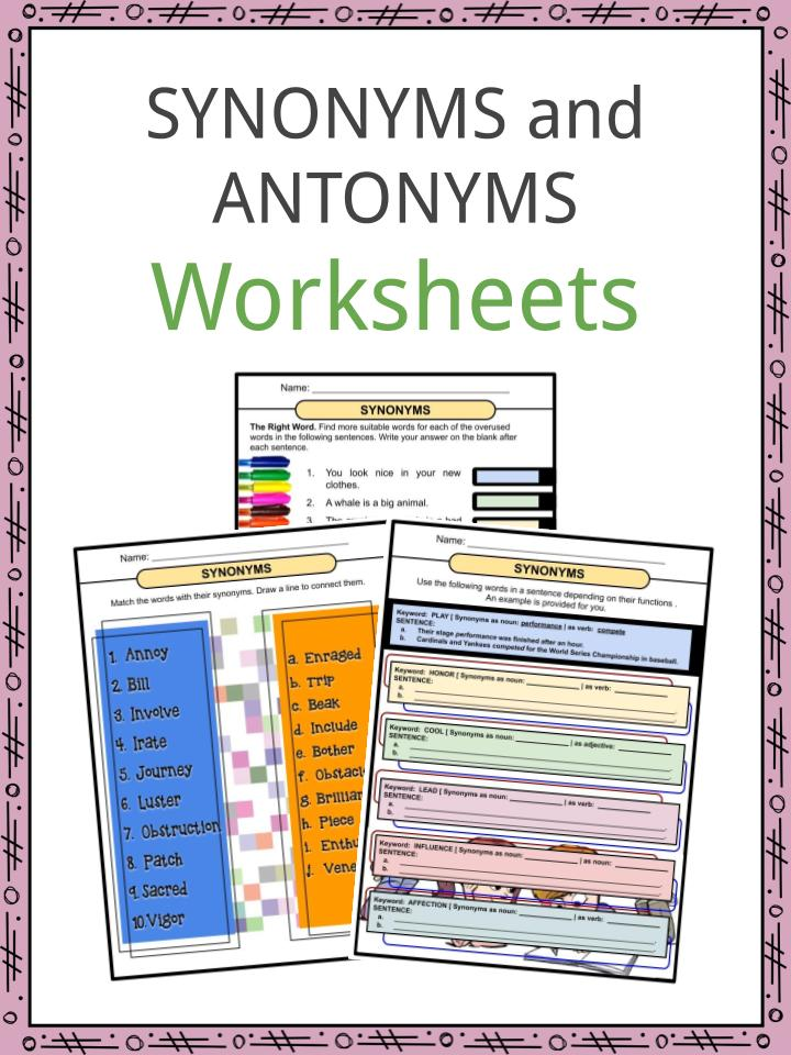 Synonyms and Antonyms Worksheets - PDF Study Guide