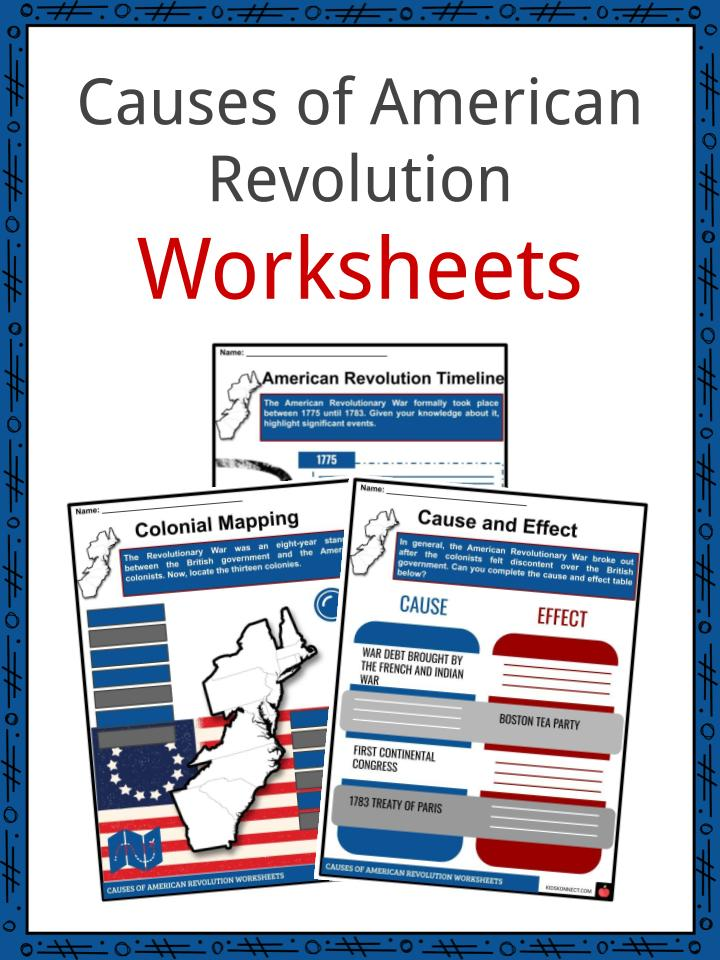 graphic relating to American Revolution Printable Worksheets identified as Good reasons of the American Revolution Information Worksheets For Young children