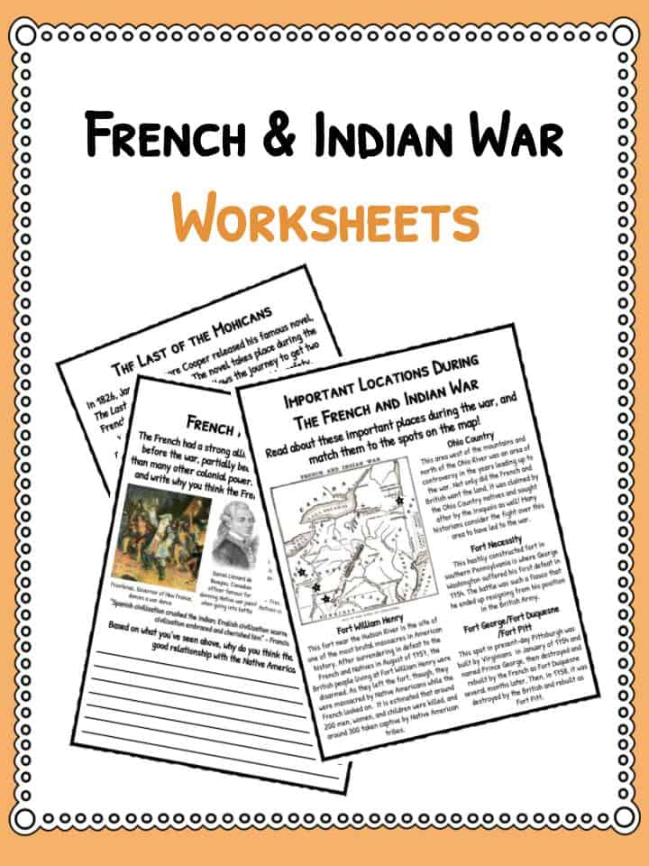 French Indian War Facts Worksheets For Kids Seven