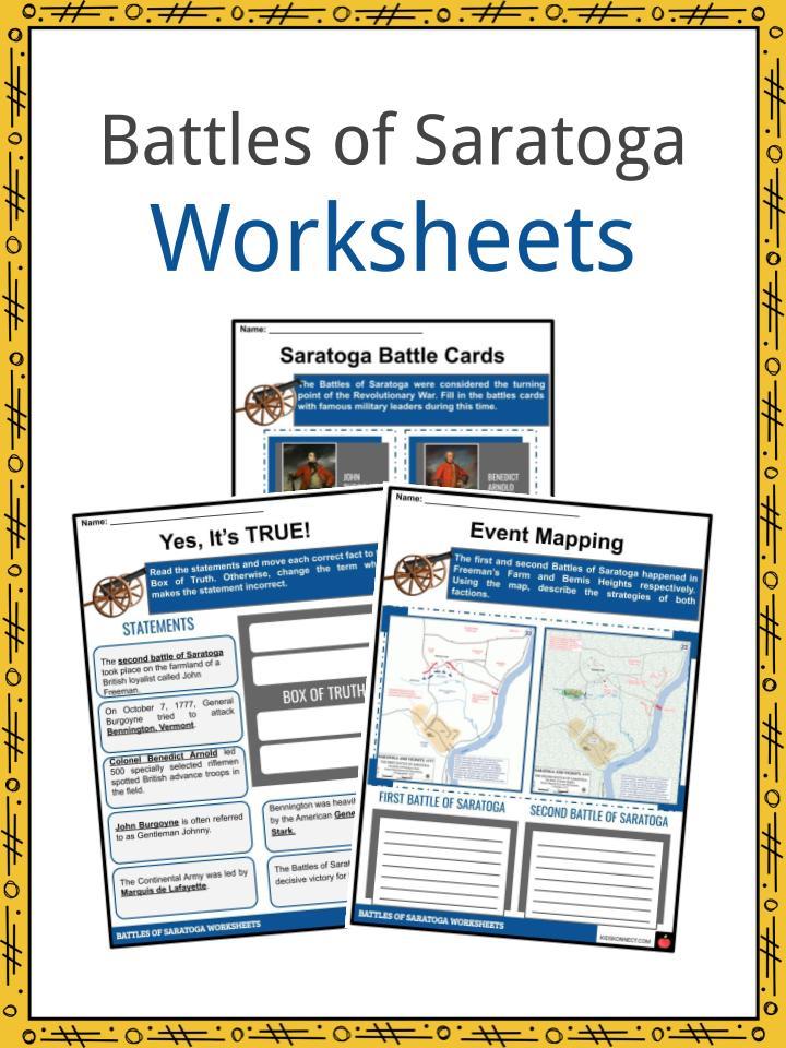 Battles of Saratoga Worksheets