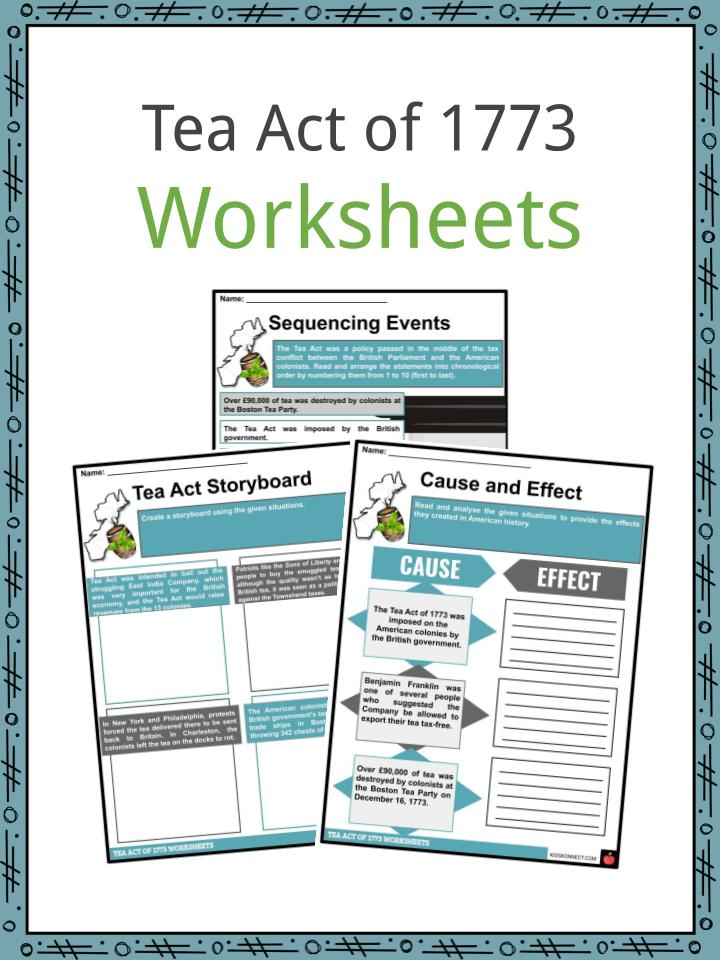 Tea Act of 1773 Worksheets