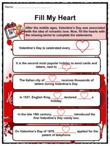 Valentines Day Facts Worksheets Origin History Through Time For Kids