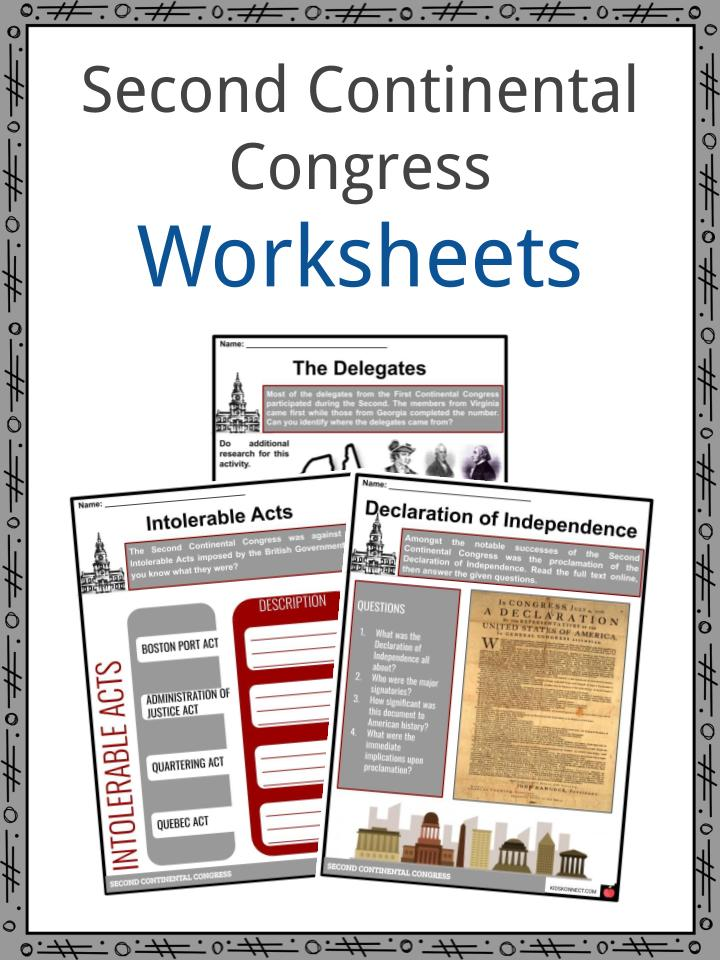 Second Continental Congress Worksheets