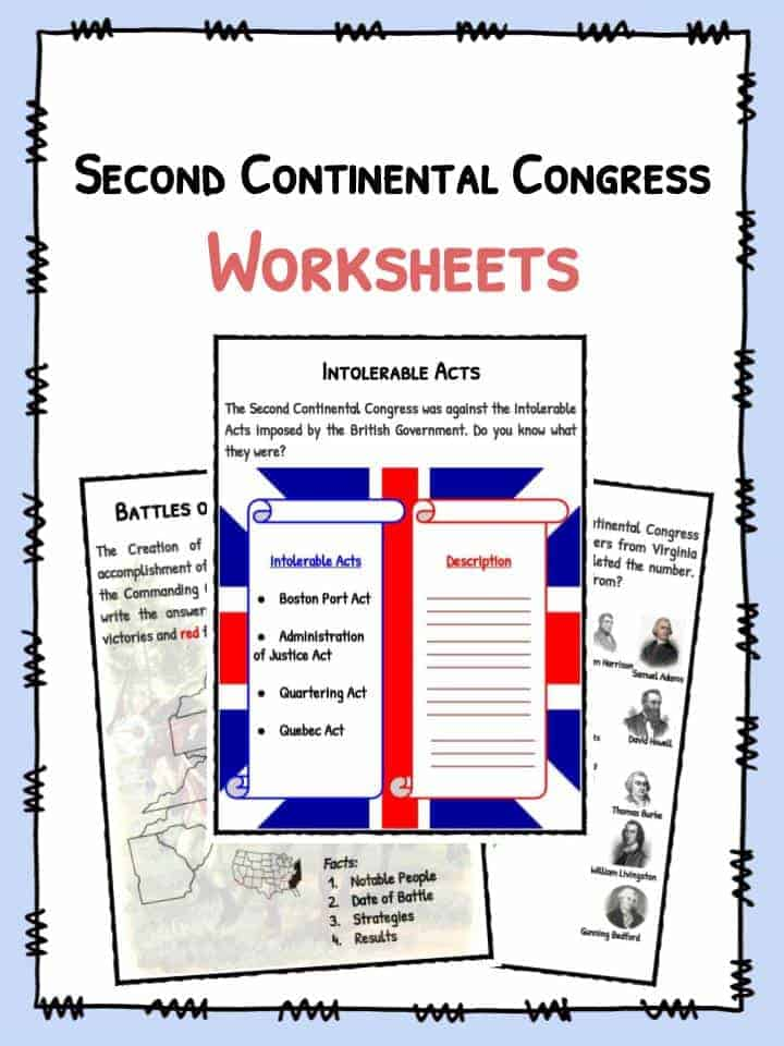 Second Continental Congress Facts & Worksheets