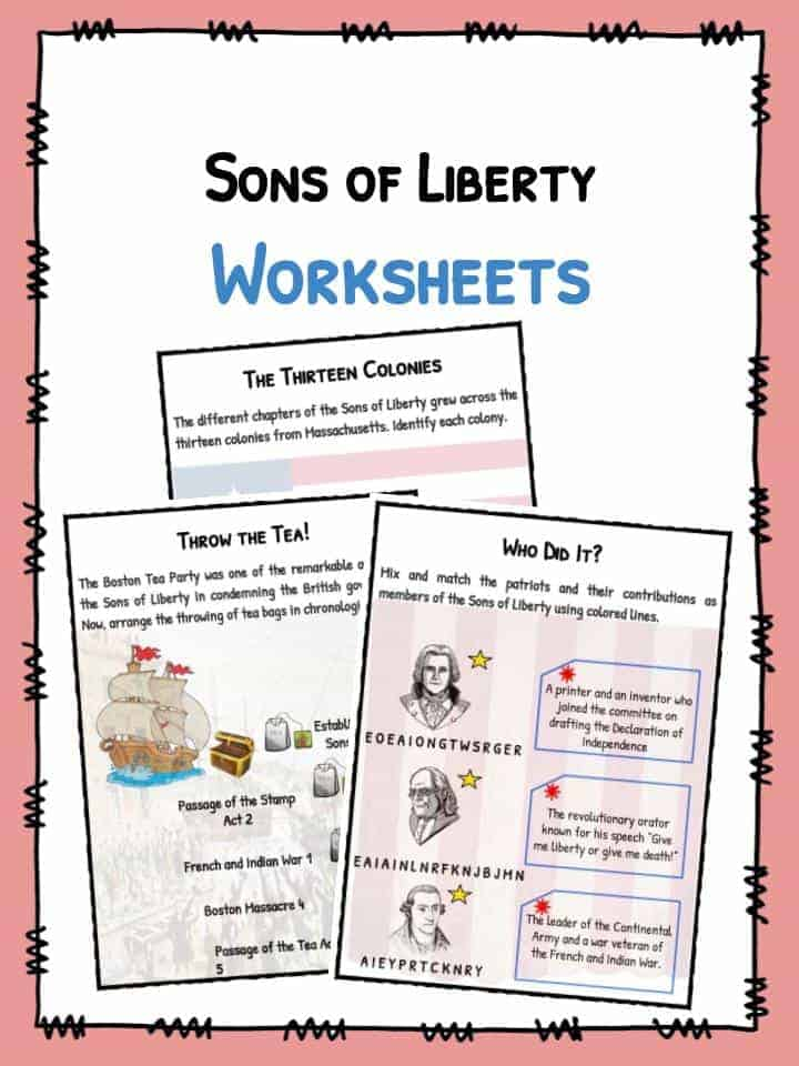 Sons of Liberty Facts & Worksheets