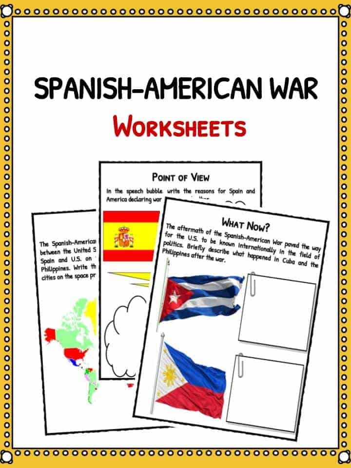 History for Kids History Worksheets and Facts – Spanish American War Worksheet