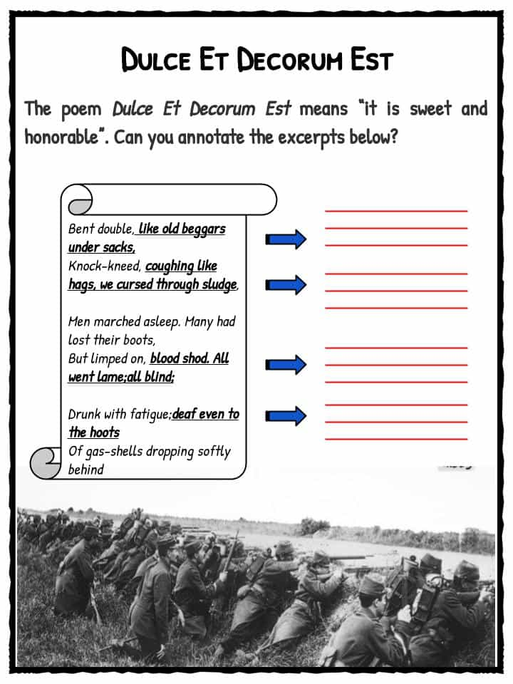 an analysis of the meaning of wilfred owens poem dulce et decorum est
