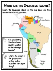 Galapagos Islands Facts Worksheets Wildlife For Kids - Map where is the galapagos islands relative to the us