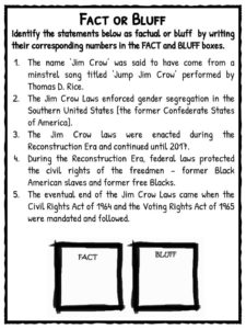 Jim Crow Laws Facts, Worksheets & Historical Implication For Kids