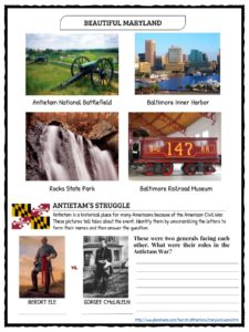 Maryland Facts Worksheets Landmarks Amp Historical