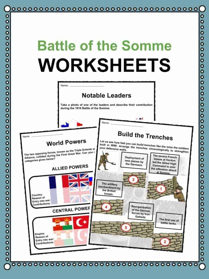Battle of the Somme Worksheets