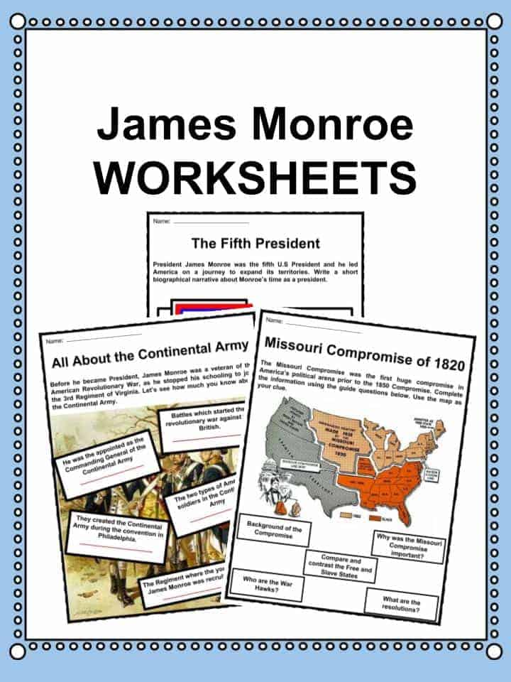 James Monroe Worksheets