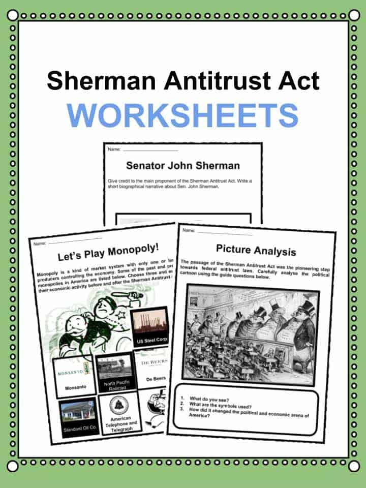 Sherman Antitrust Act (1890) Facts & Worksheets For Kids