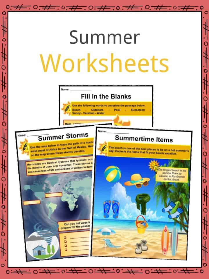 graphic about All Summer in a Day Worksheet called Summer season Info, Worksheets, Content material Main Features
