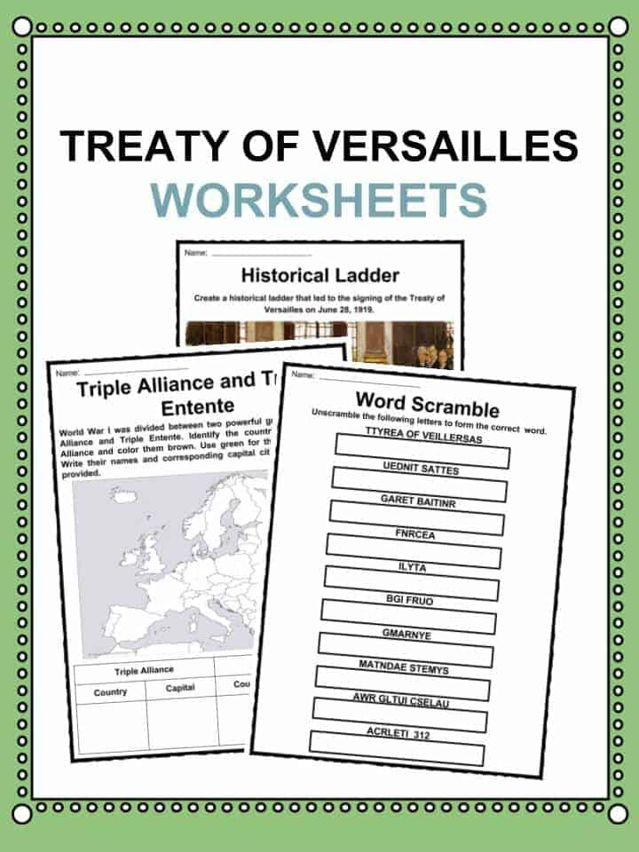 Treaty of Versailles Worksheets