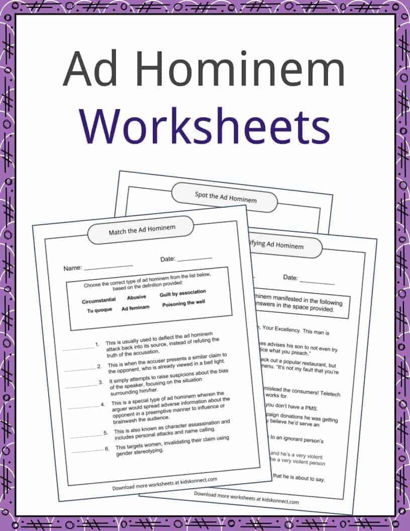 Worksheets Rhetorical Devices Worksheet ad hominem examples and worksheets kidskonnect download the worksheets