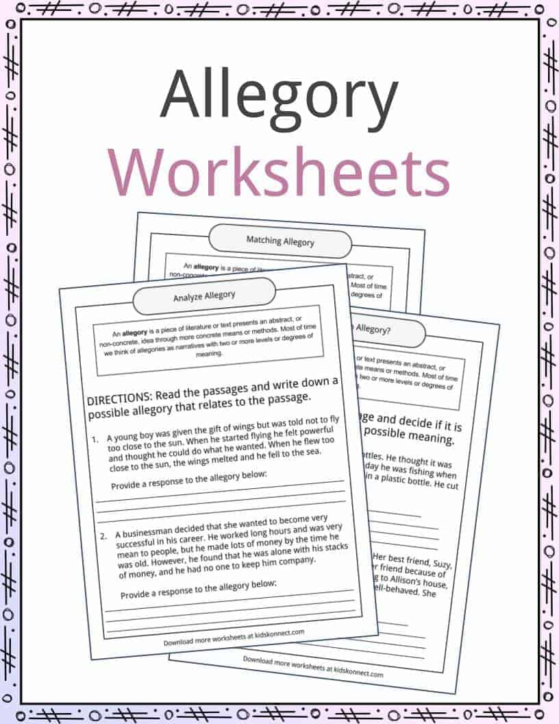Allegory Examples Definition and Worksheets – The Lion the Witch and the Wardrobe Worksheets