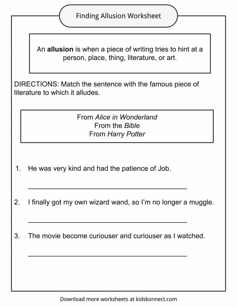 worksheet Allusion Worksheet allusion examples definition and worksheets kidskonnect finding allusion