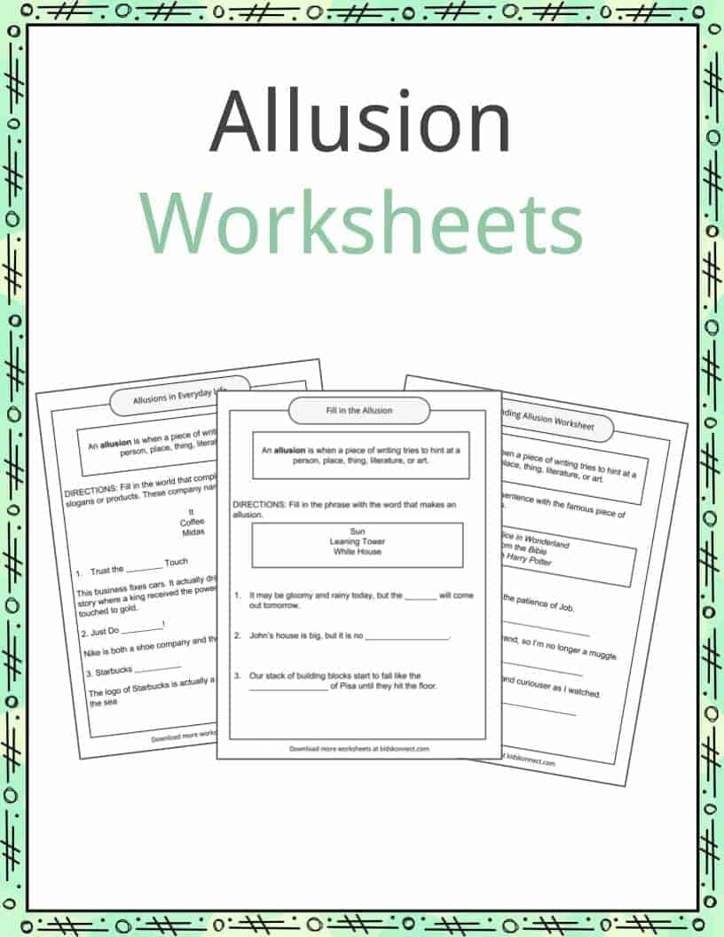 worksheet Allusion Worksheet allusion examples definition and worksheets kidskonnect download the worksheets