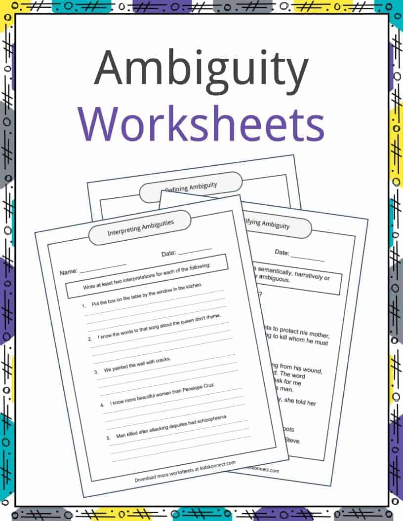 Workbooks understatement worksheets : Ambiguity Examples, Definition and Worksheets | KidsKonnect