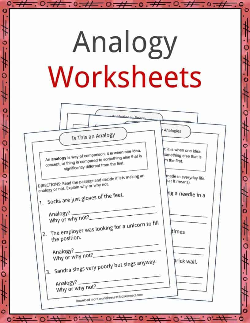 Worksheets Analogies Worksheet Middle School literary devices worksheets lesson plans resources analogy examples and worksheets