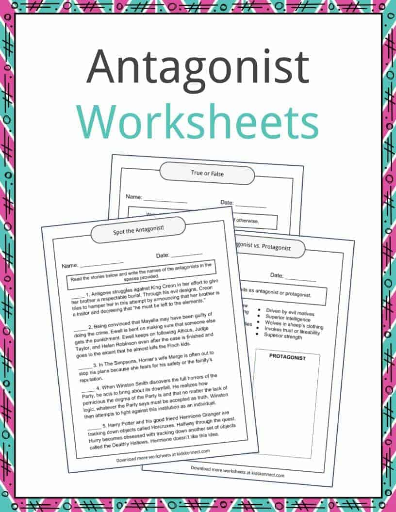 worksheet Protagonist And Antagonist Worksheet antagonist examples definition and worksheets kidskonnect download the worksheets