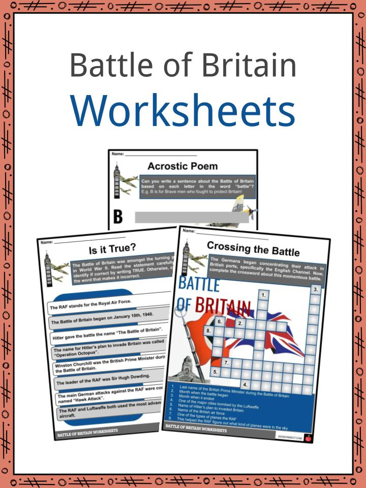 Battle of Britain Worksheets